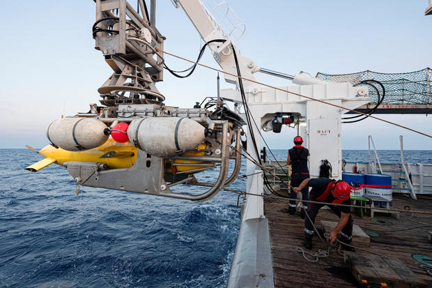 The AsterX submarine drone returns on board the Antea research vessel during the second phase of the search for the wreckage of the Minerve submarine