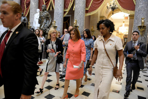 U.S. Speaker of the House Nancy Pelosi (D-CA) walks through Statuary Hall after leaving the U.S. House of Representatives Chamber at the U.S. Capitol in Washington