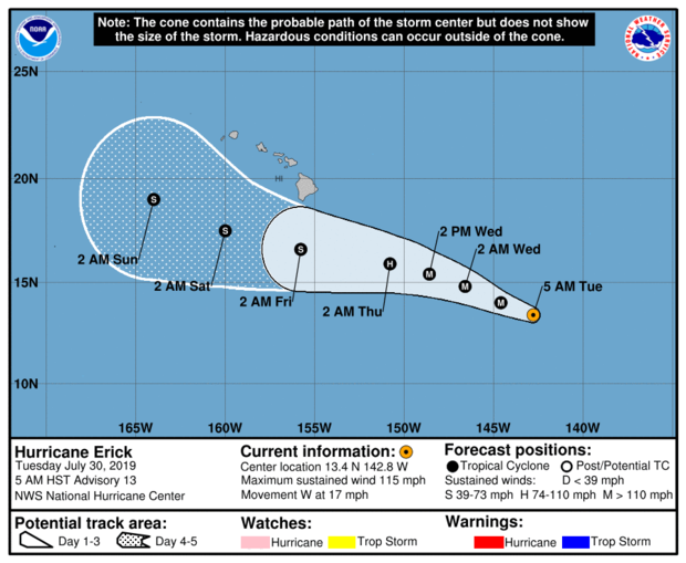 A map made by the National Hurricane Center shows the projected path of Hurricane Erick as of 11 a.m. ET on July 30, 2019.