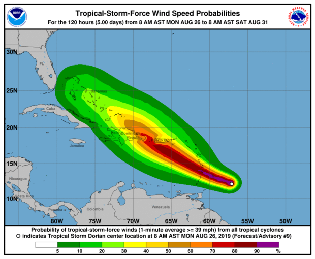 Tropical wind speed probabilities in Dorian 11:00 ET