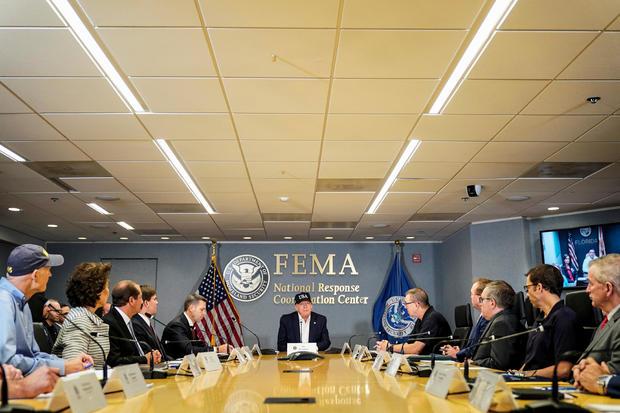 U.S. President Donald Trump attends a Federal Emergency Management Agency (FEMA) briefing on hurricane Dorian in Washington