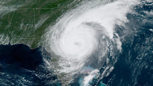 ​Hurricane Dorian churns off the East Coast in a satellite image captured at 2:11 p.m. ET on September 4, 2019.