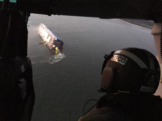 Auto  carrier capsized, crew evacuated, Brunswick USA UPDATE 4 crew missing VIDEO