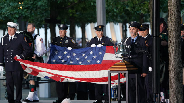 Flag-bearers take part in the September 11 commemoration ceremony at the 9/11 Memorial and Museum at the World Trade Center on September 11, 2019, in New York.