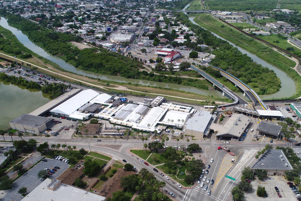 A U.S. Customs and Border Protection tent facility is seen in an aerial photo in Brownsville