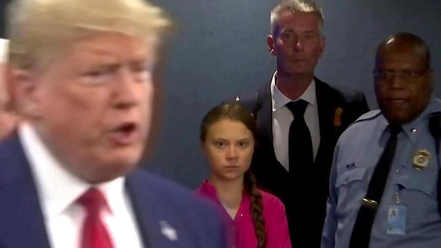 Swedish environmental activist Greta Thunberg watches as U.S. President Donald Trump enters the United Nations