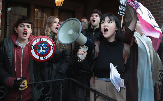 Demonstrators Protest Former Trump Campaign Manager Corey Lewandowski Speaking On Campus Of University Of Chicago