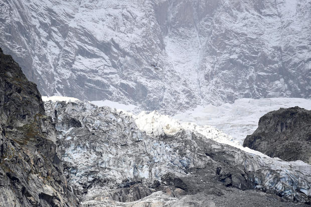 Segment of the Planpincieux glacier is seen at the Mont Blanc massif area of Planpincieux, Aosta