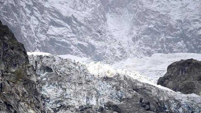 Segment of the Planpincieux glacier is seen at the Mont Blanc massif area of Planpincieux, Aosta