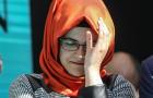 Hatice Cengiz, fiancee of murdered Saudi journalist Jamal Khashoggi, cries during a ceremony near Saudi Arabia's consulate in Istanbul, Turkey, marking the one-year anniversary of Khashoggi's death on October 2, 2019.