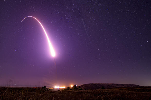 An unarmed Minuteman III intercontinental ballistic missile launches from Vandenberg Air Force Base in California October 2, 2019.