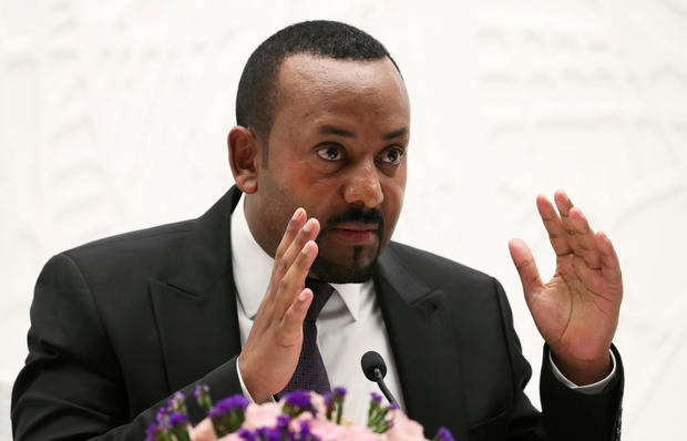 FILE PHOTO: Ethiopia's Prime Minister Abiy Ahmed speaks at a news conference at his office in Addis Ababa