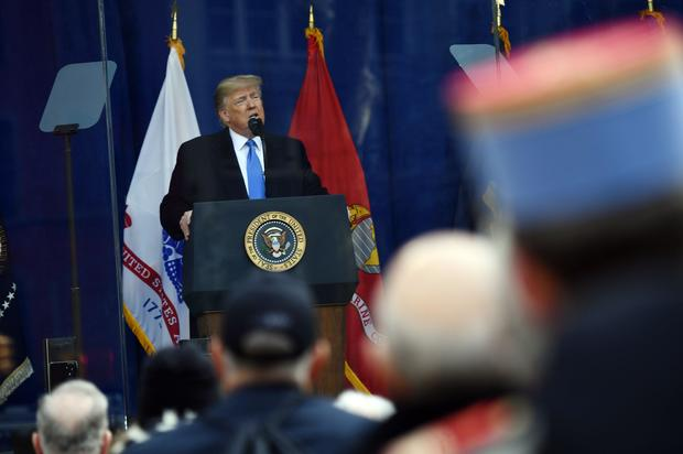 President Trump delivers remarks during the New York City Veterans Day Parade on November 11, 2019, in New York.