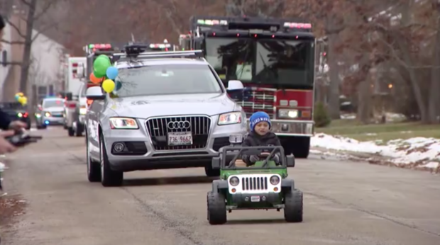 A boy with a rare disease wasn't expected to live past 2. For his 3rd birthday, a parade was held in his honor.