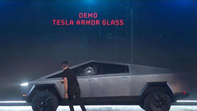 """Image result for Tesla just unveiled its new """"bulletproof"""" truck. During a test, its windows broke"""