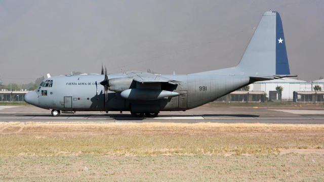 A Chile Air Force Lockheed C-130 Hercules seen ready to