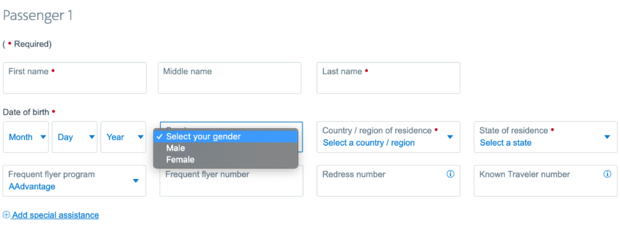 Do european airlines have non binary gender options