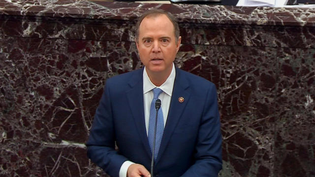 House Intelligence Committee Chairman Schiff speaks during impeachment trial of President Trump at the U.S. Capitol in Washington