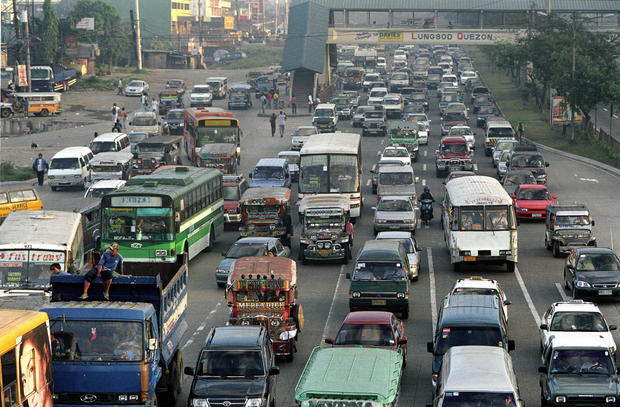 Road Transport, Philippines, Manila, Morning Rush 'Hour' Lasts All Day In Manila, Cars, Buses And Trucks Travel At Little More Than Walking Speed Most Of The Time,