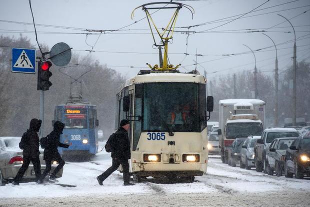 Heavy snowfall in Novosibirsk, Russia