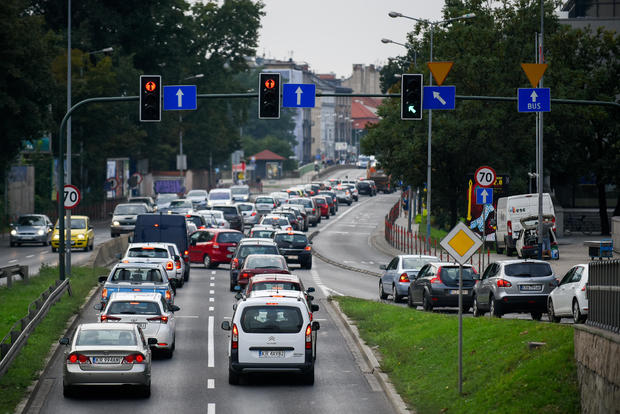 Traffic is seen next to the Congress Center.Krakow is the