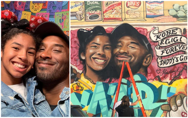 Mural of Kobe and Gigi Bryant latest of many tributes popping up across Los Angeles