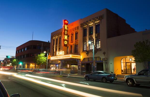 Albuquerque, Route 66 of Central Avenue historic KIMO Theatre at night