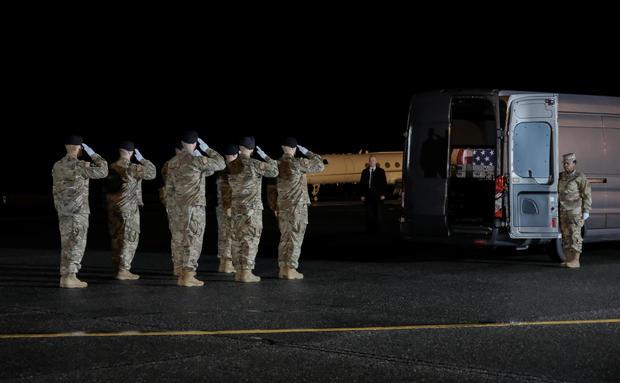 Dignified Transfer of U.S. Army soldiers SFC Javier Jaguar Gutierrez and SFC Antonio Rey Rodriguez