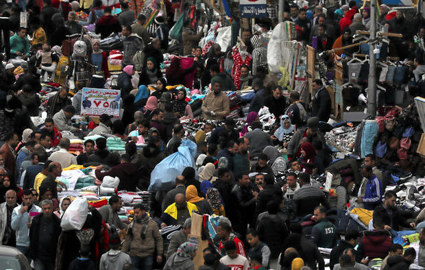 A view shows a crowd and shops at Al Ataba, a market in central Cairo