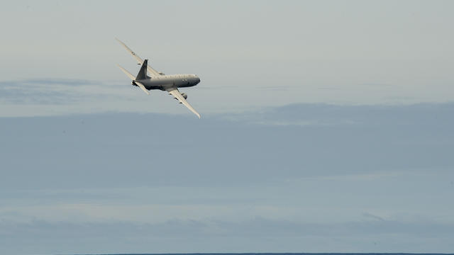 U.S. Navy P-8A Poseidon Flies by USS Preble