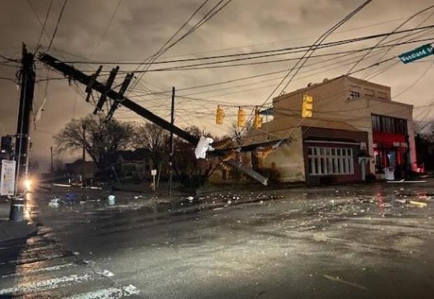 Tornado damage in Nashville, Tennessee