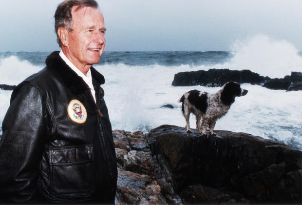 President Bush With Millie at the Beach