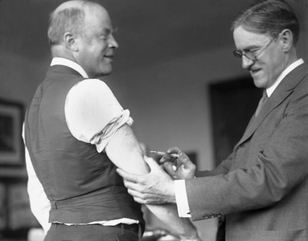 Mayor of Boston Receiving Flu Shot