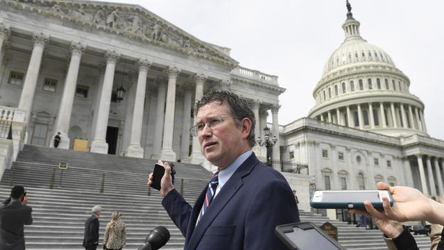 Republican Congressman Thomas Massie of Kentucky speaks during a rally in support of the Second Amendment on January 31, 2020, in Frankfort, Kentucky.
