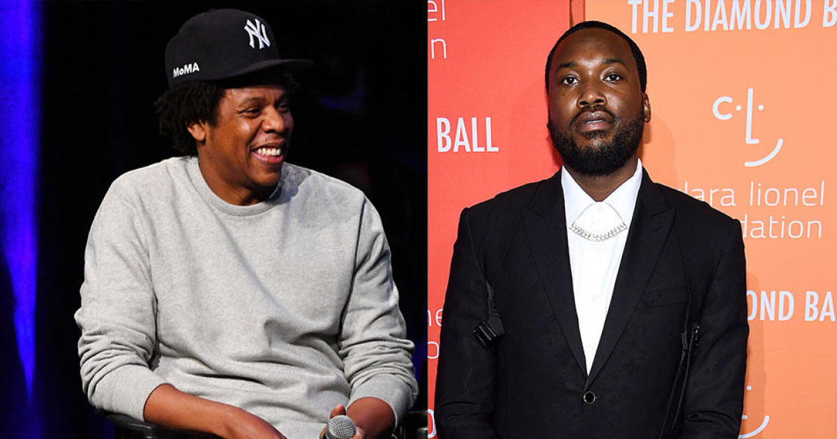 Side-by-side photos of Jay-Z and Meek Mill
