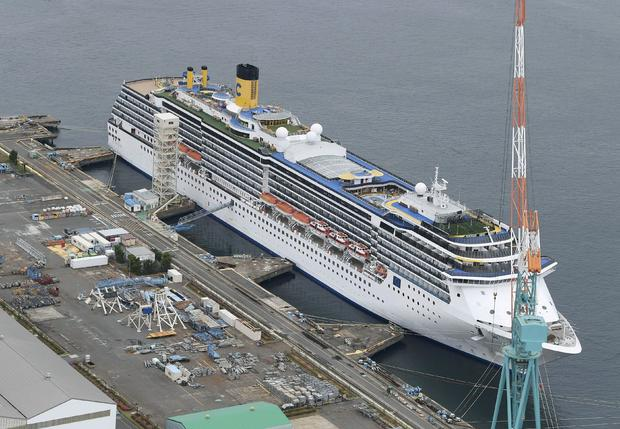An aerial view shows Italian cruise ship Costa Atlantica in Nagasaki, Japan