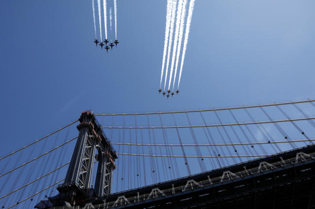 U.S. Navy Blue Angels and Air Force Thunderbirds New York City flyover during the outbreak of the coronavirus disease (COVID-19)