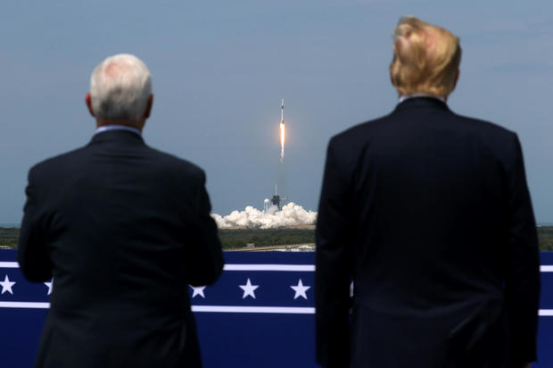 U.S. President Donald Trump and U.S. Vice President Mike Pence attend the launch of a SpaceX Falcon 9 rocket and Crew Dragon spacecraft, from Cape Canaveral, Florida, U.S. May 30, 2020. REUTERS/Jonathan Ernst