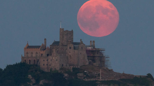 Strawberry Moon Rises Over St Michael's Mount