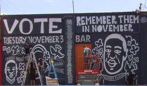 Mural honoring Floyd reminds viewers to vote