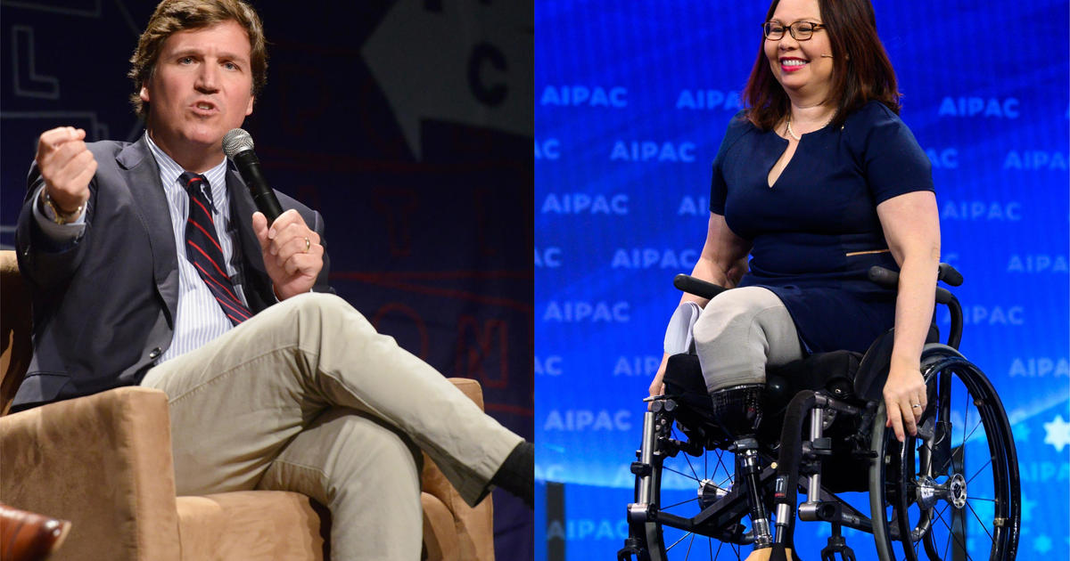 Tucker Carlson says Sen. Tammy Duckworth, who received a Purple Heart after losing both her legs in Iraq, hates America