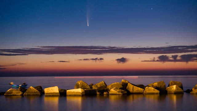 Comet Neowise Shining Above The Port Of Molfetta