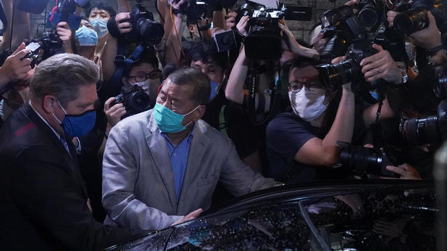 Media mogul Jimmy Lai Chee-ying, founder of Apple Daily, is seen as he was released on bail, after he was arrested by the national security unit in Hong Kong