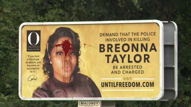Breonna Taylor billboard in Kentucky vandalized with red paint splattered across her forehead