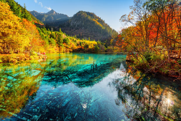 Fantastic view of the Five Flower Lake with azure water