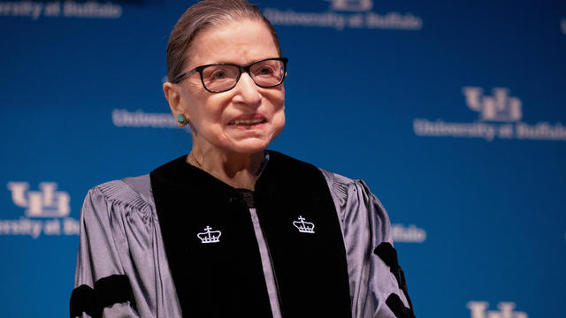 FILE PHOTO: U.S. Supreme Court Justice Ruth Bader Ginsburg speaks at University of Buffalo School of Law in Buffalo, New York