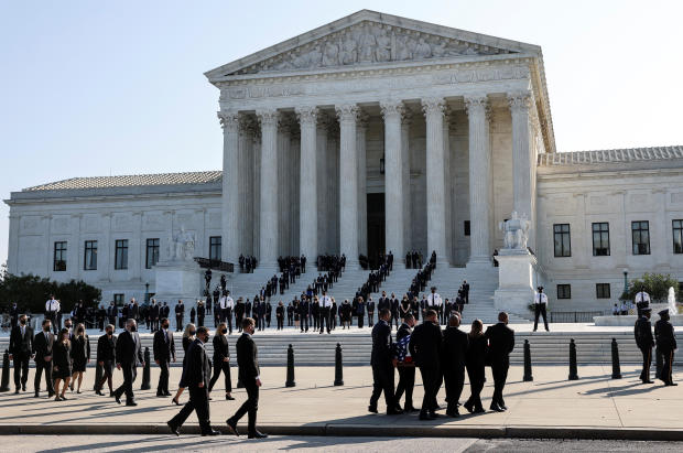 Casket of the late Supreme Court Justice Ruth Bader Ginsburg arrives at the U.S. Supreme Court in Washington