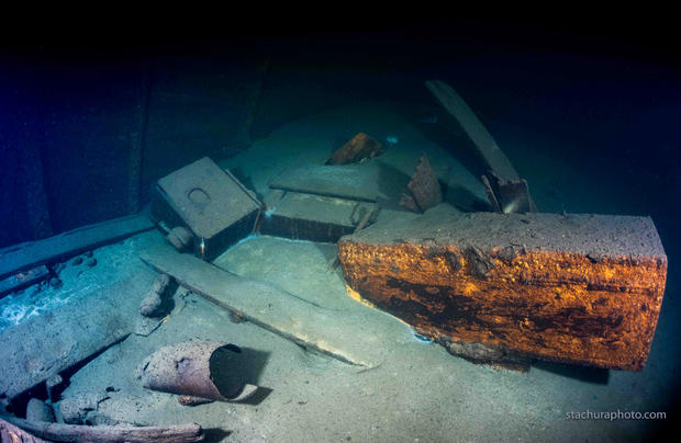 """A wreck of a German Second World War ship """"Karlsruhe"""" is seen during a search operation in the Baltic sea in June 2020"""