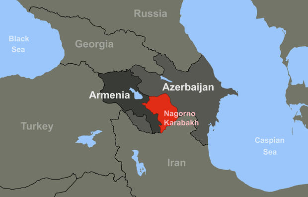 Armenia-Azerbaijan conflict in Nagorno-Karabakh on outline map