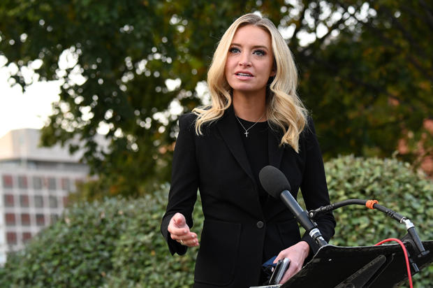 White House Press Secretary Kayleigh McEnany speaks to members of the media at the White House in Washington